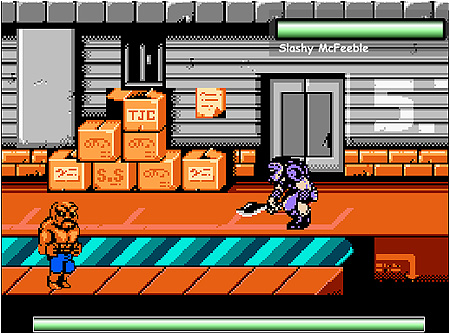 A screenshot from the original 2002 demo of Abobo's Big Adventure.