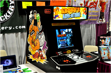 The custom arcade cabinet built for Abobo's Big Adventure.