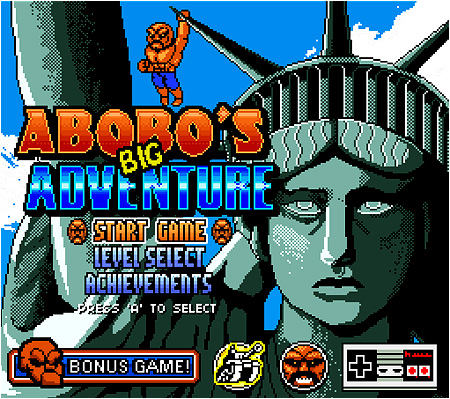 The title screen for Abobo's Big Adventure.