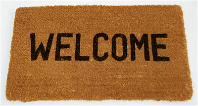 Don't actually wipe your feet on our welcome mat. You'll screw up your monitor in the process.