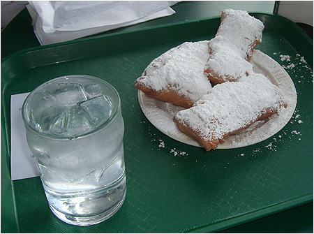 An order of Beignets from Cafe Du Monde! SUGAR!