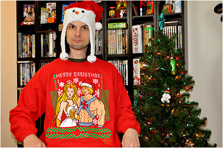 An ugly Christmas sweater based on The He-Man and She-Ra Christmas Special!