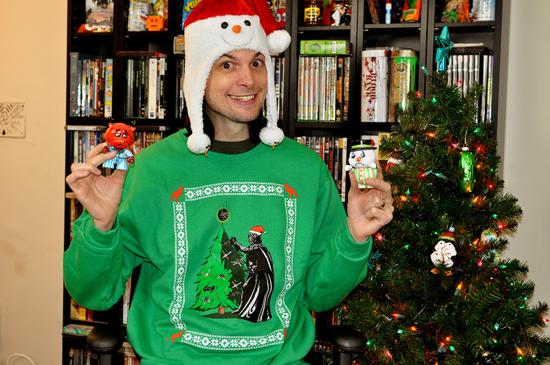 darth vader places a death star on top of his christmas tree - He Man Christmas Sweater
