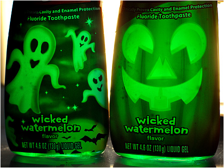 Wicked Watermelon toothpaste may not glow, but it looks really nice when backlit.