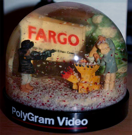 The infamous Fargo wood chipper scene in a bloody snow globe!