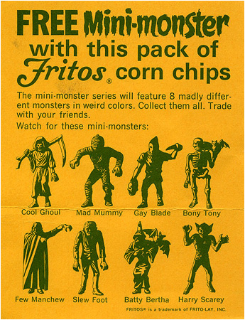The classic MPC mini-monsters, relaunched by Fritos. Evil Executioner is now... Gay Blade!