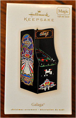 A Galaga arcade cabinet for your Christmas tree! Santa's gonna get totally distracted.