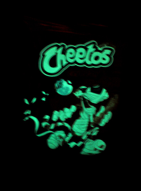 These treat-size bags of Halloween Cheetos actually glow-in-the-dark!