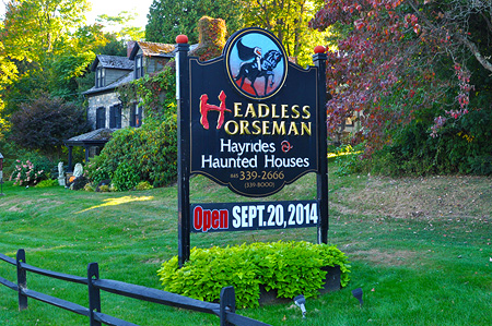 The Headless Horseman Hayride & Haunted Houses entrance!