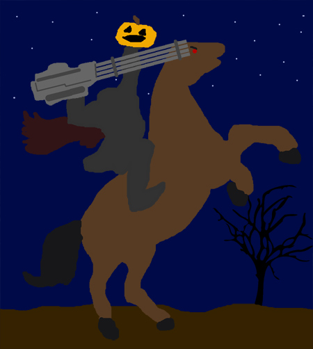 The Headless Horseman has some serious firepower!