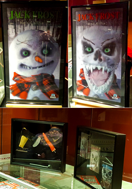 Jack Frost horror movie lenticular poster, and film props including his carrot!