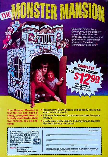 Monster Cereal Monster Mansion mail-away promotion