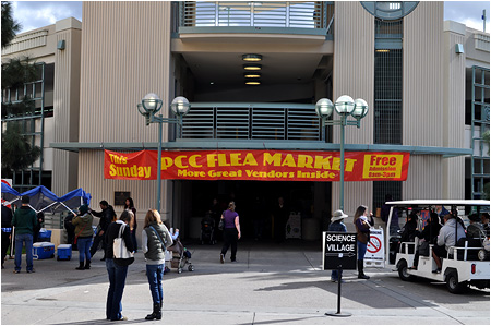 Arriving at the Pasadena City College Flea Market - January 2013