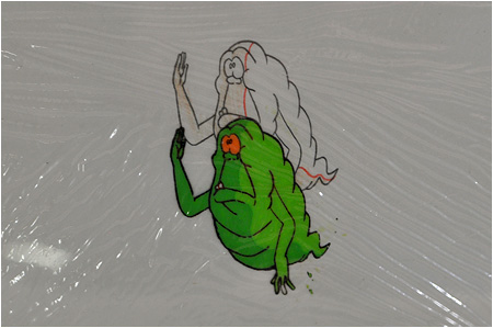 The Real Ghostbusters Slimer cartoon art cel!
