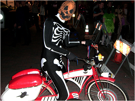 Taking out Pee-wee Herman's bicycle for a spin on Halloween!
