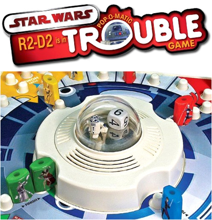 Make R2-D2 scream bloody murder by popping him inside the pop-o-matic trouble bubble!