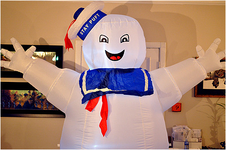 Behold the fully inflated 8-foot tall Stay Puft Marshmallow Man!