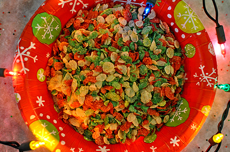 A heaping bowl of Pebbles Sugar Cookie flavored cereal!