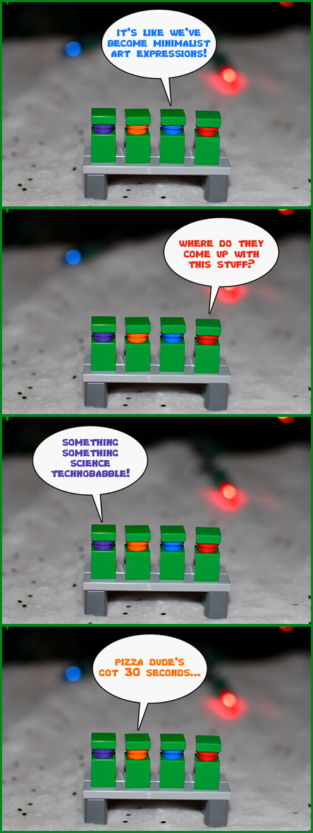 A poignant discussion amongst minimalist Teenage Mutant Ninja Turtles in LEGO form.