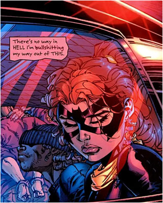 Batgirl lowers her head in shame as she realizes how rusty her skateboarding ...