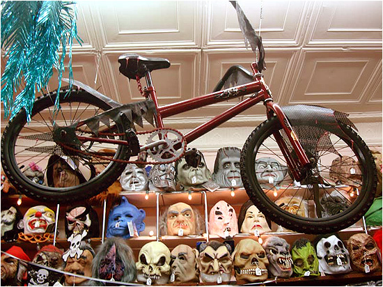 Halloween Costume Shop wall of halloween store in a reservation Question What Do You Do When You Run A Halloween Costume Shop And Have An Extra Dirt Bike Answer You Drape It With Some Evil Looking Cheese Cloth And