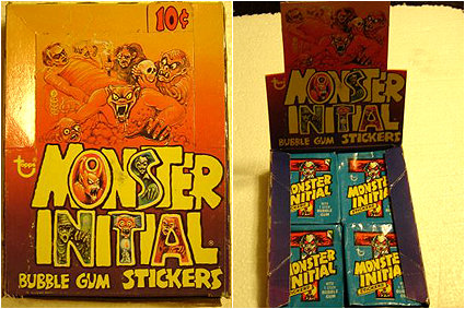 A Box Of Topps Monster Initial Stickers From 1974