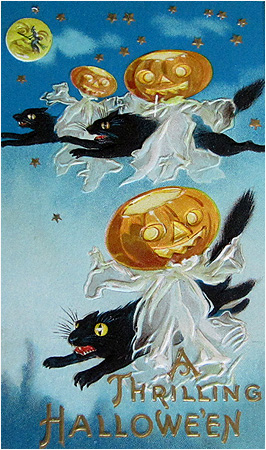 Nothing Makes For A Thrilling Halloween Quite Like Trio Of Pumpkin Ghosts Having Just Raped Flying Black Cats In The Sky
