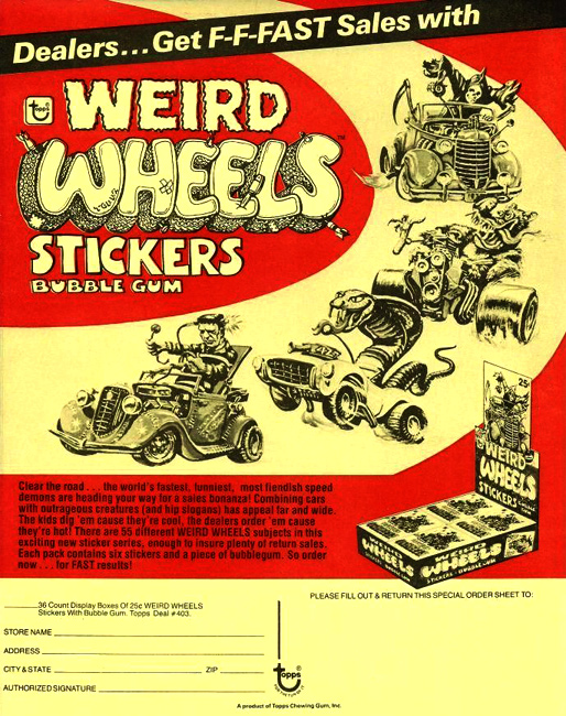i mockery   weird wheels   monster hot rod trading card stickers from 1980 by topps