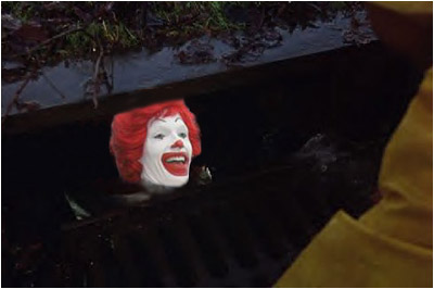 4e5e02cf1 In this ad capitalizing on the success of Stephen King's It mini-series, a  child in a rain slicker is walking down the street when suddenly he hears  someone ...